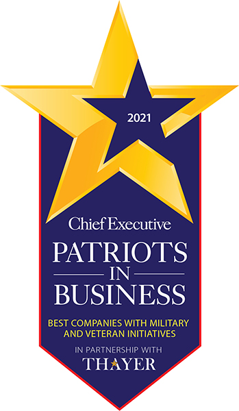 Chief Executive Patriots In Business badge.
